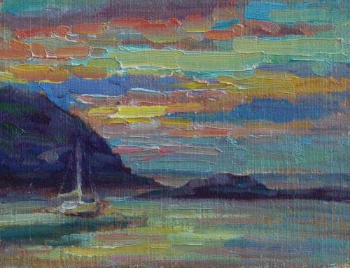 Monhegan Sunset Study